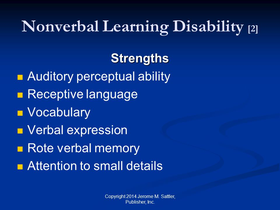 Nonverbal Learning Disability [2]